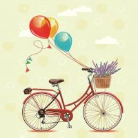 Napkins 2pcs Bicycle with balloons retro Decoupage