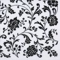 Decoupage Napkins 2pcs ti-flair black and white flowers