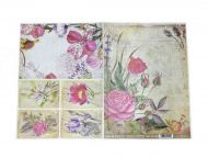Rice paper Retro flowers for decoupage scrapbook A3 craft decor