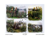 Rice paper for decoupage A3 retro french country ladies by the lake