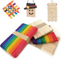 50Pcs Children's DIY Colored Ice Cream Wooden Sticks 150mm