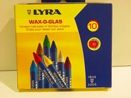 WAX CRAYONS LYRA FOR WINDOW GLASS DRAWING 10 COLORS REMOVABLE KIDS DECORATE