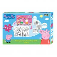 COLORING PUZZLE 2SIDES 41X28 24PCS 3COL PG PEPPA PIG