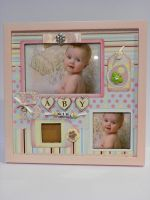 Photo picture frame pink girl wooden 3 photos birth gift decorative baby room