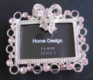 Photo frame vintage miniature pewter antique romantic looking silver pink bow