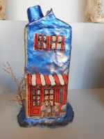Clay house home handmade vintage decoration 20cm