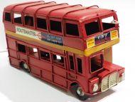 ENGLISH BUS ROUTEMASTER CLASSIC RED VINTAGE TIN HANDMADE COLLECTIBLE DECORATIVE