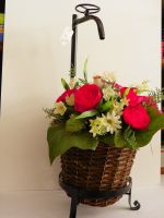 TAP ANTIQUE STYLE VINTAGE METAL HANDMADE FLOWER PLANT BAMBOO BASKET COLLECTIBLE