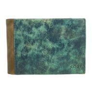 Wallet genuine leather men distress blue COZY