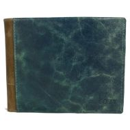 Wallet genuine leather men blue caramel COZY