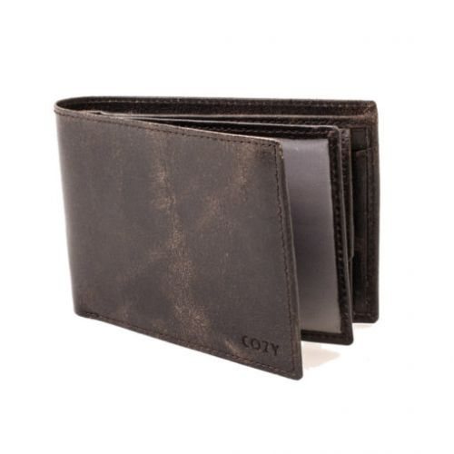 Wallet genuine leather men crunchy grey COZY