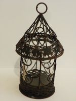 CANDLE HOLDER 9.1'' VINTAGE RUSTY METAL WITH GLASS TUBE HOME GARDEN DECO